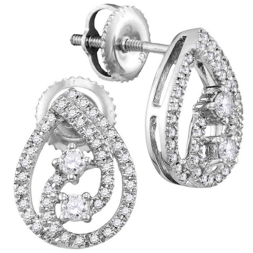 10kt White Gold Womens Round Diamond 2 Stone Teardrop Back Earrings 1 4 Cttw