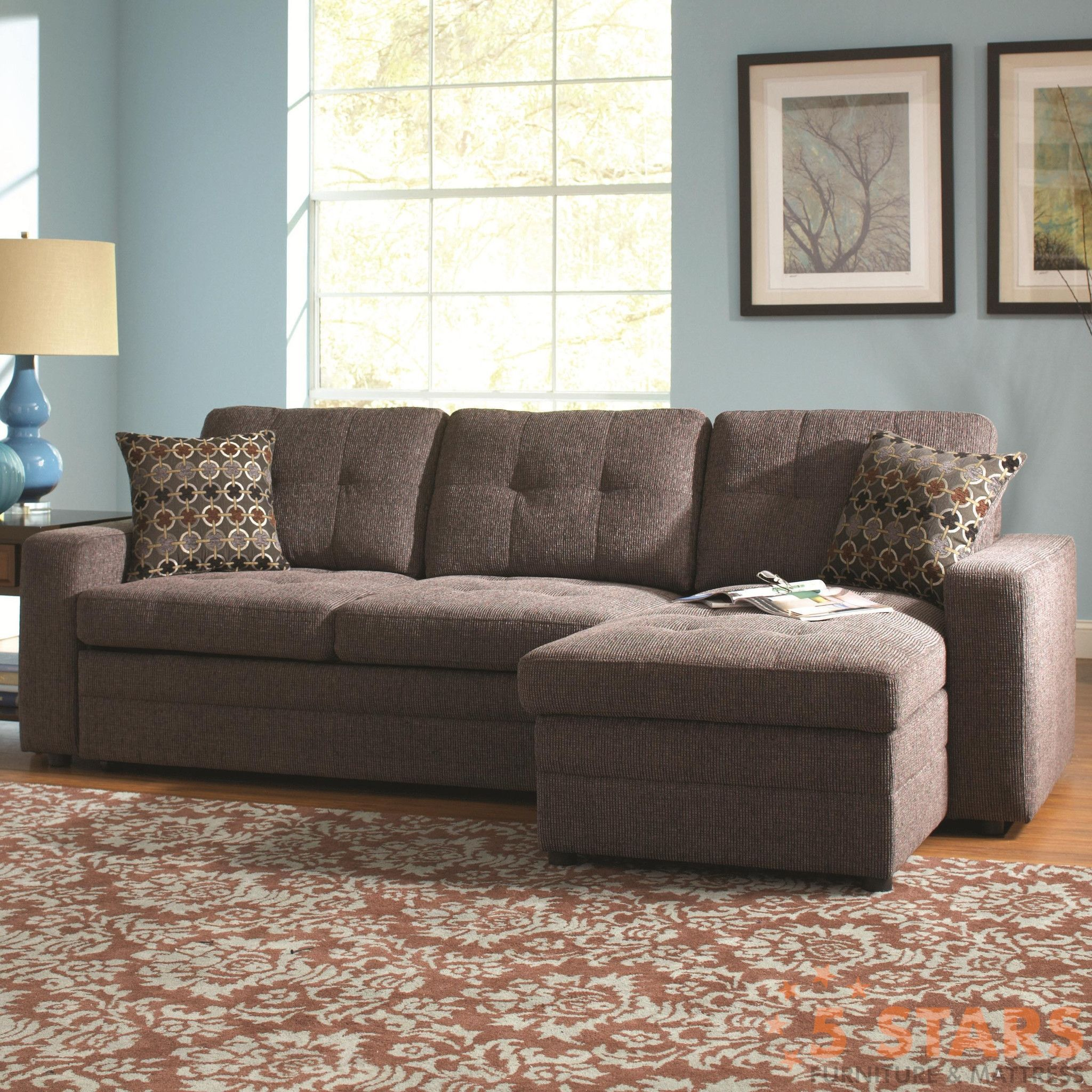 Gus Sectional Sofa with Tufts Storage and Pull Out Bed