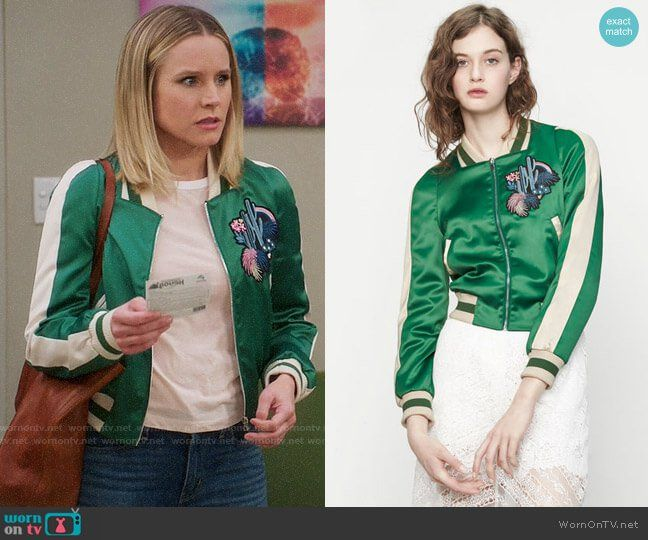b0ac7993e3c72 Eleanor's green embroidered bomber jacket on The Good Place. Outfit  Details: https:/
