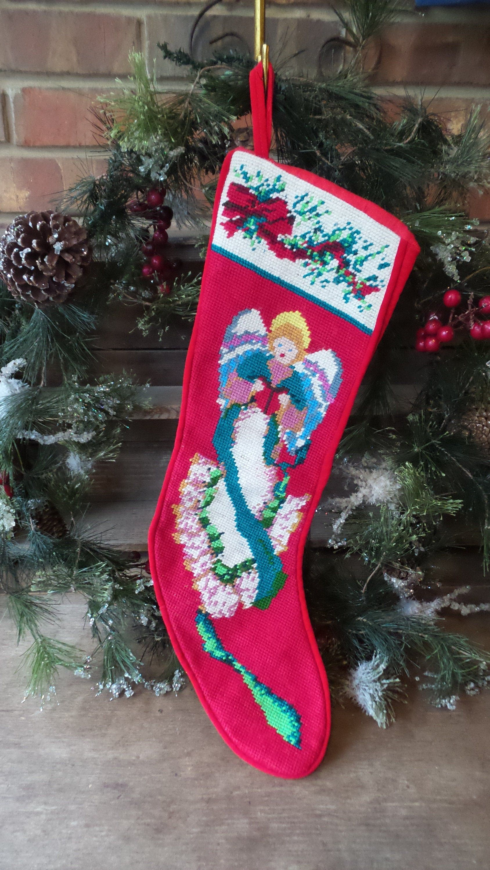 Red and Green Lace Vintage Trim 80s New Old Stock Lace Holiday Christmas