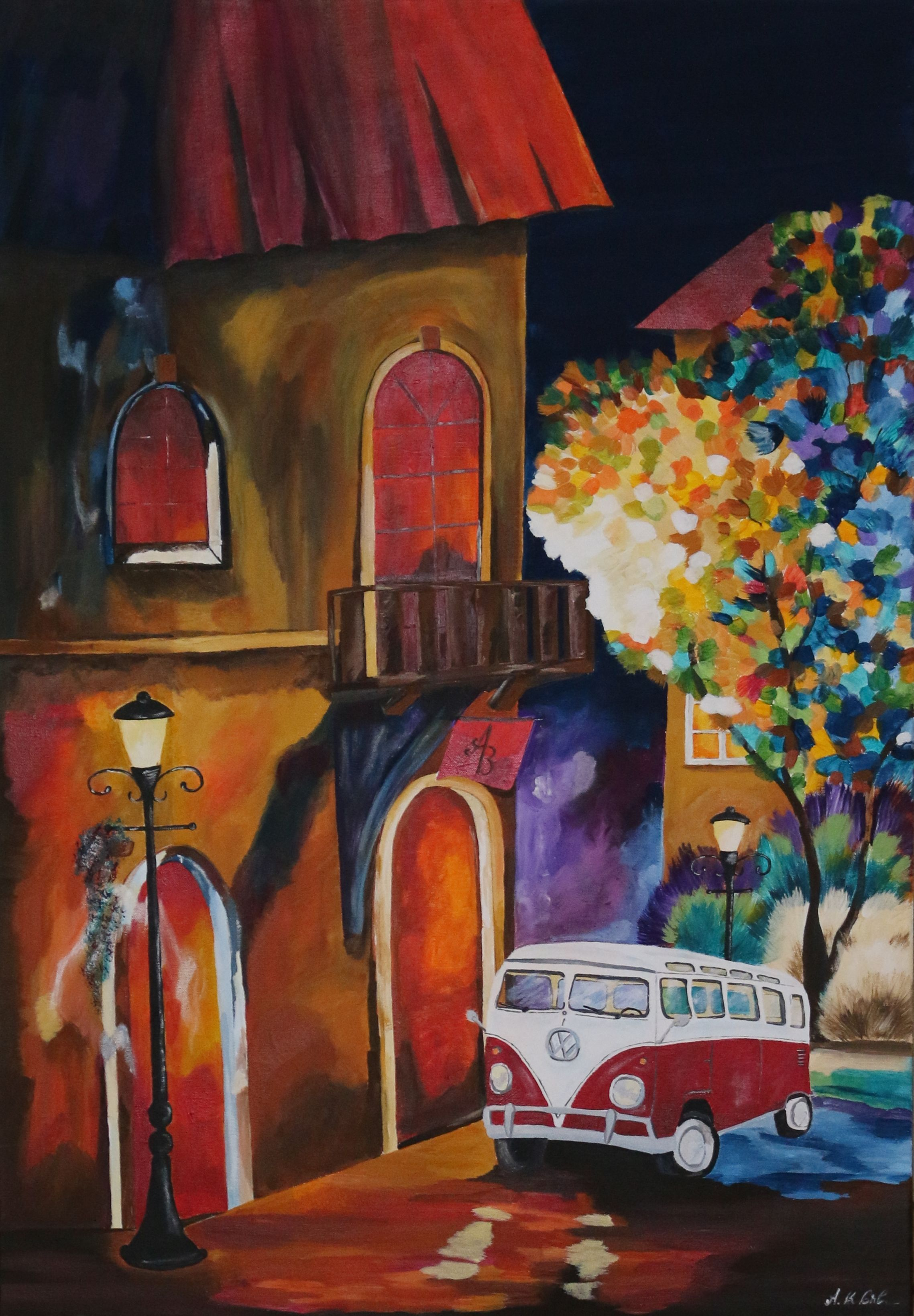 The crooked house 70x100 cm malerei, paintings, VW, Bulli, T1, car ...