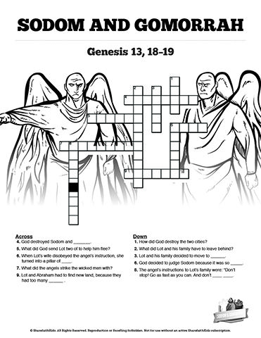 The Story Of Sodom And Gomorrah Sunday School Crossword Puzzles