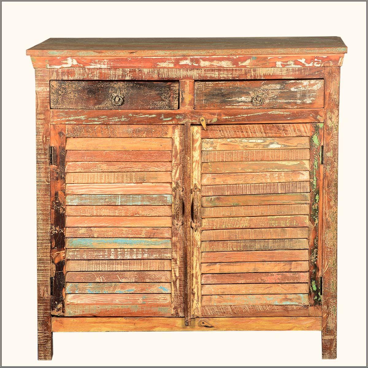 Rustic 2 Drawer 2 Shutter Door Storage Cabinet Reclaimed Wood ...