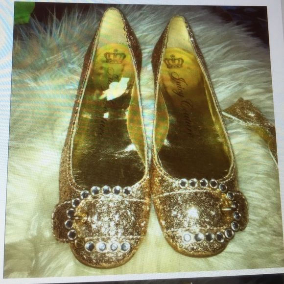 Juicy couture gold sparkly shoes 5 girls Juicy couture sparkly gold shoes with rhinestone top buckle.Girls/woman size 5,but must have a narrow feet. Juicy Couture Shoes