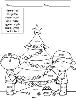 Christmas Color by Word FREEBIE Christmas worksheets