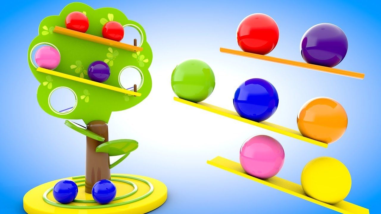 Learn Colors for Children with Wooden Tree Color Balls Slider Toy ...