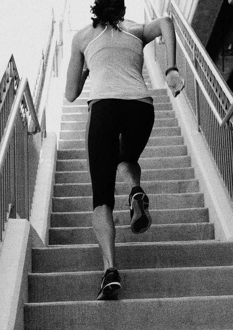 Own the stairs. Up & down six times. #drills #workout