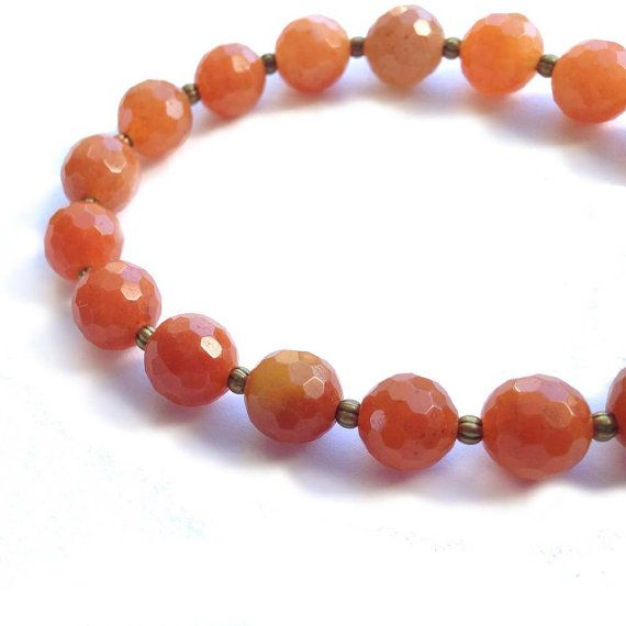 Stretch Bracelet Faceted Orange Carnelian 8 mm by CatalinaInspired