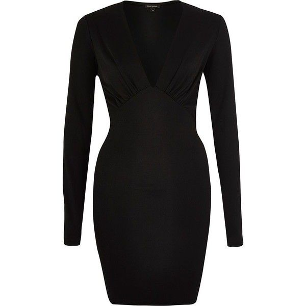 6fd1b80808 River Island Black plunge neck bodycon mini dress ( 19) ❤ liked on Polyvore  featuring