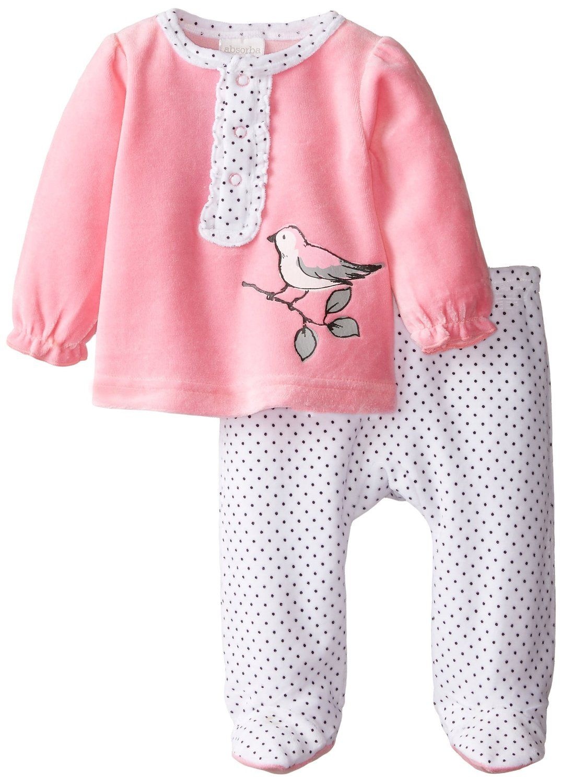 89c2766aa510 Amazon.com  ABSORBA Baby-Girls Newborn Bird Velour Footed Pant Set ...