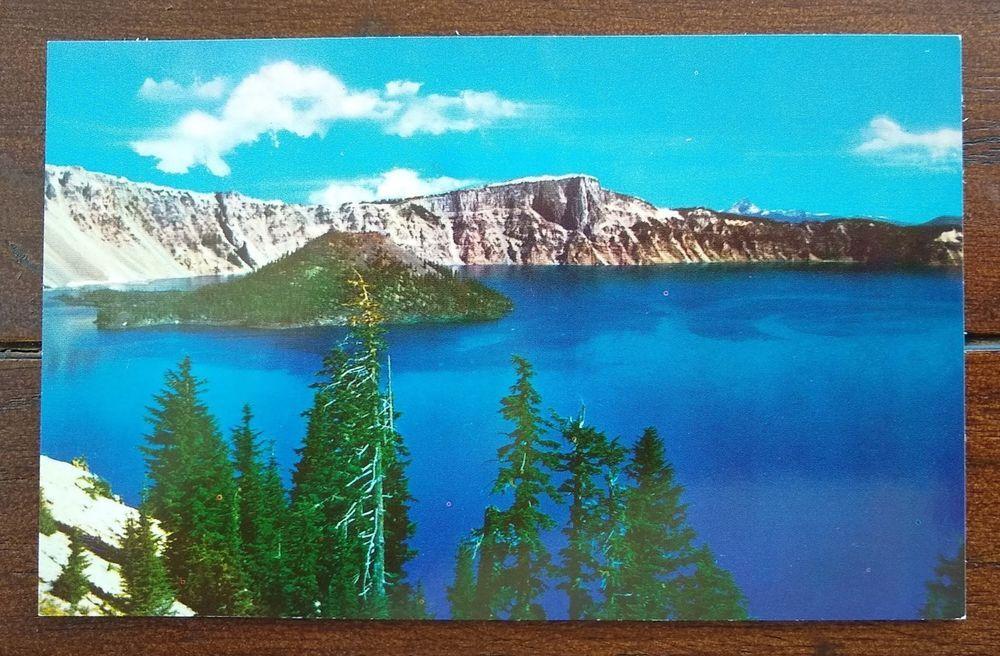 Crater lake oregon postcard vintage card souvenir postcard