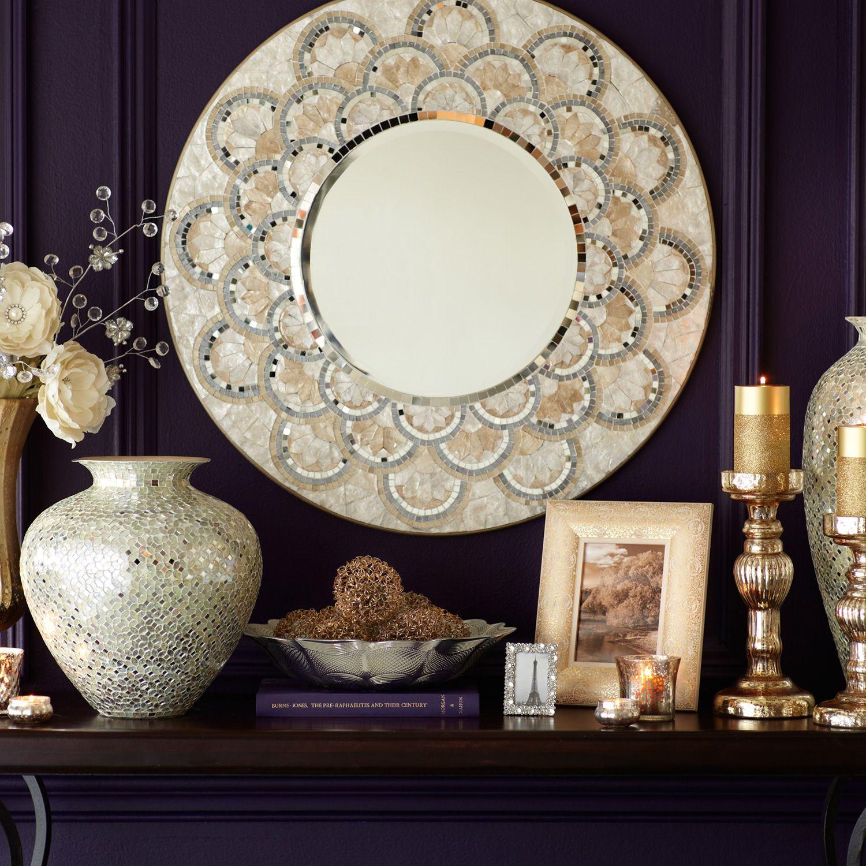 "Capiz & Mirrored Tile 32"" Mirror Home - Ph"