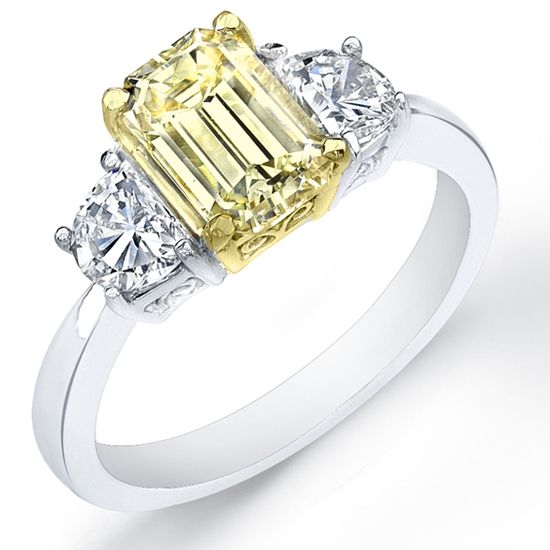237 Ct Canary Fancy Yellow Emerald Cut Diamond Engagement Ring Love