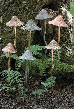 Copper Mushrooms Garden Whimsy Garden Art Glass Garden Art