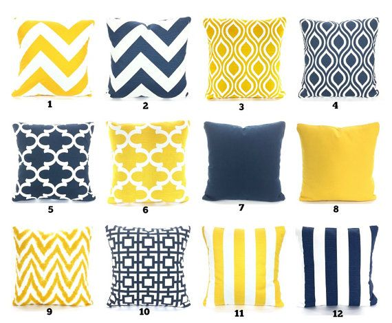 Navy Blue Yellow Pillow Covers Decorative Throw Pillow Cushions Premier Navy Blue Corn Yellow White Yellow Pillows Yellow Pillow Covers White Cushion Covers