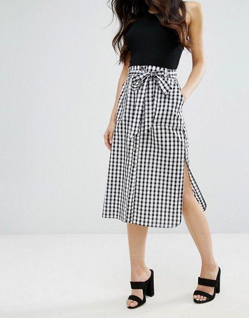 82f16f8a140e River Island Gingham Tie Front Midi Skirt | SKIRTS | Midi skirt ...