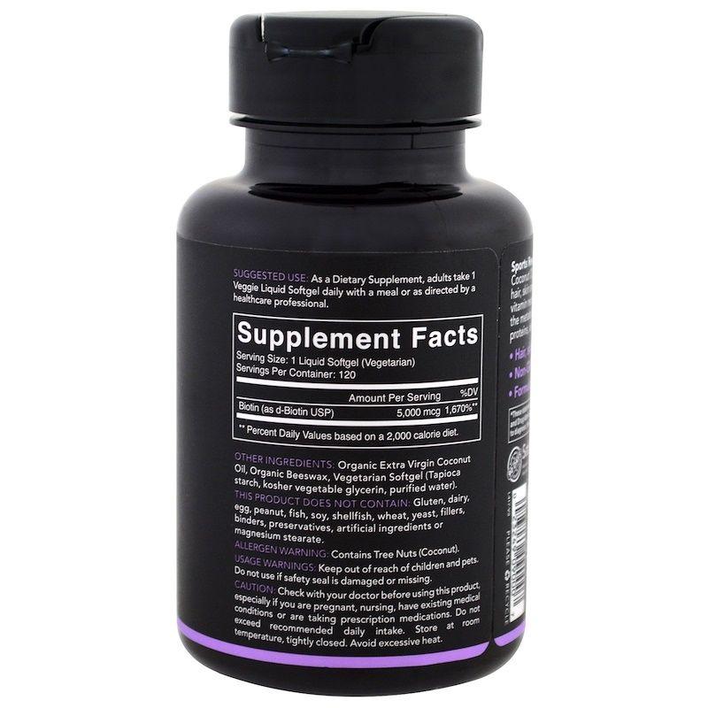 Sports Research بيوتين مع زيت جوز الهند 5 000 مكجم 120 كبسولة هلامية نباتية Oils Shampoo Bottle Health Care