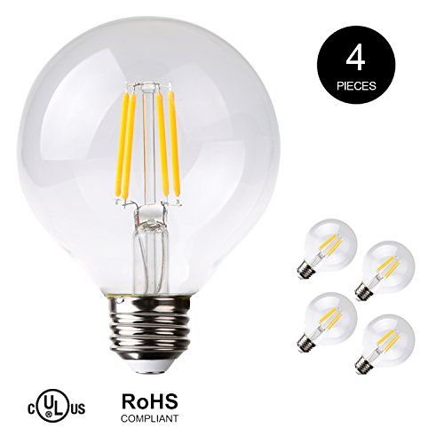 7pandas Antique Led Filament Globe Light Bulbs 475 Lumens 4 5w Led Equivalent To 40w Incandescent Soft White 2700k Ul Standard E26 Medium Base 120v Cr8 Globe Light Bulbs Light Bulbs Bulb