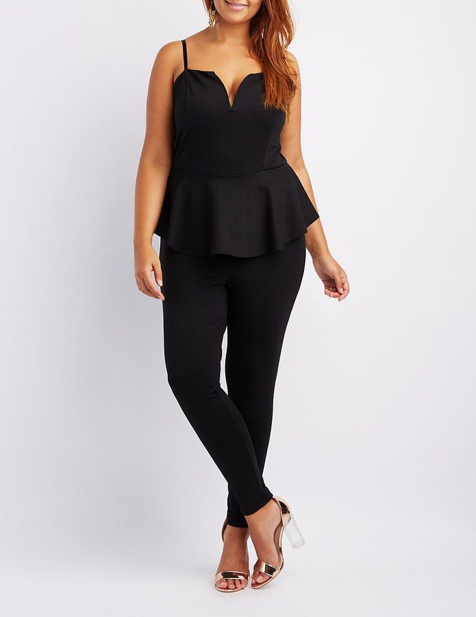 90c1f0df8ee Charlotte Russe Plus Size Notched Peplum Jumpsuit