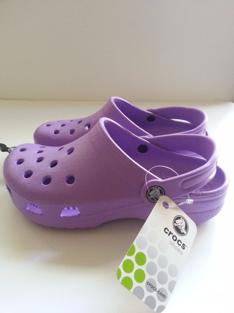 1e8ff3c895 Crocs Classic Cayman Purple Kids Clogs Girl Size M2/W4 NWT #Crocs #Clogs  $9.99