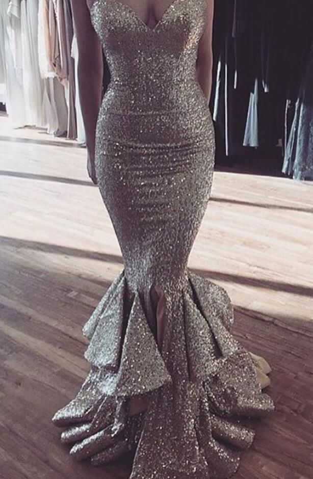 c88068be7b Sleeveless Prom Dress,Silver Sequin Prom Dress,Sexy Evening Dress ...