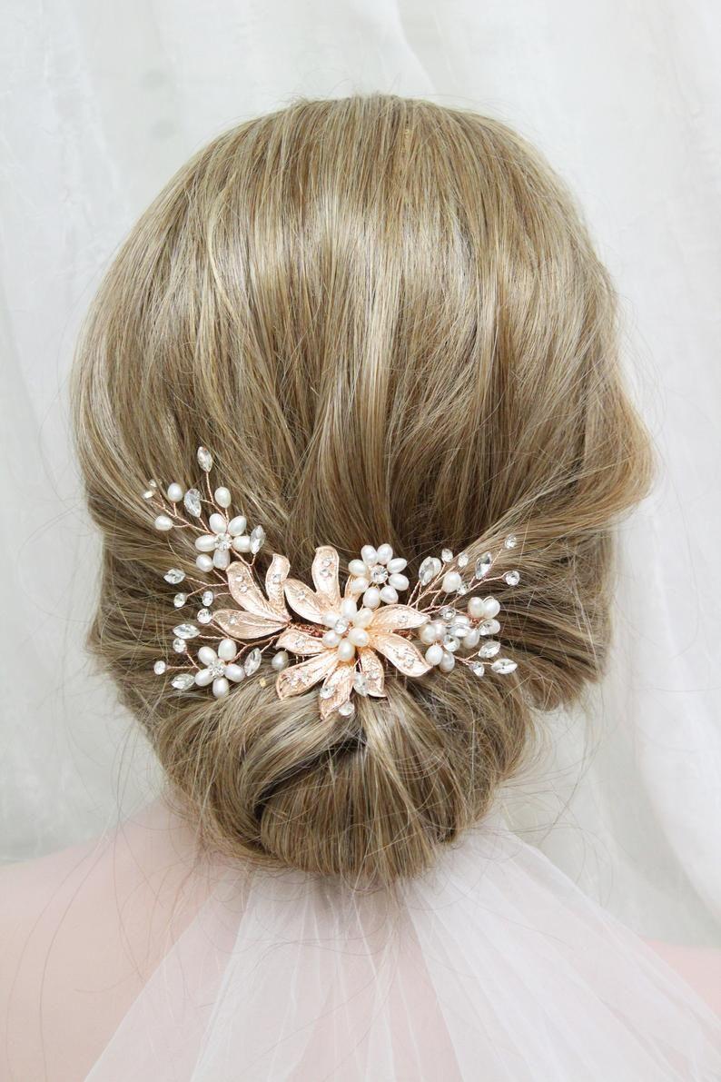 rose gold bridal hair comb freshwater pearl wedding hair