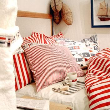 Double Duvet Cover Newport Wide Red Stripe Pl105 1