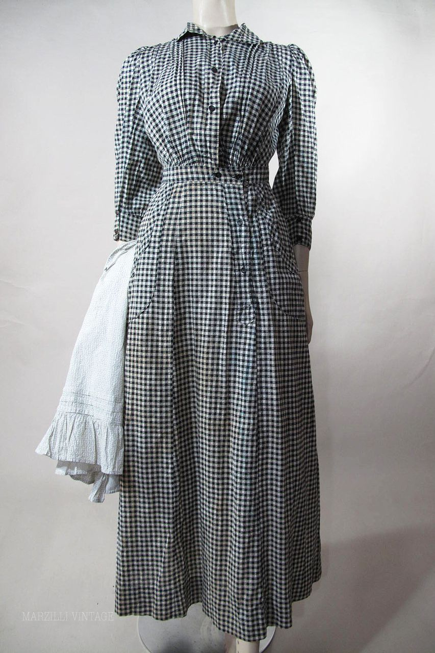 1890 S Black White Gingham Day Dress With Calico Apron F 209 Removed Dresses Historical Dresses 1880 Fashion [ 1280 x 853 Pixel ]
