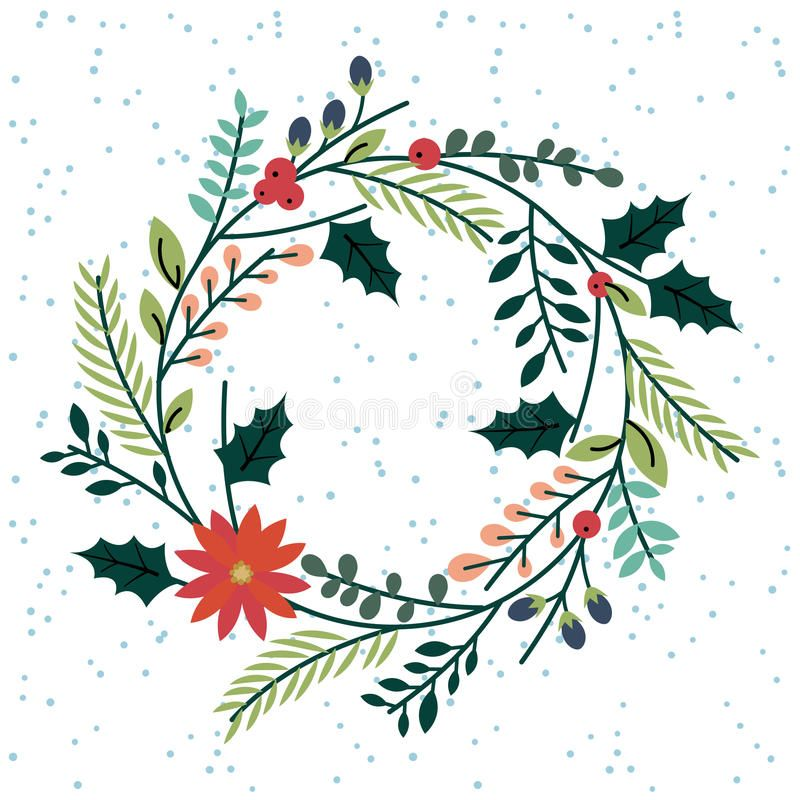 Photo of Floral Or Botanical Christmas Wreath Stock Vector – Illustration of antique, flower: 46968987