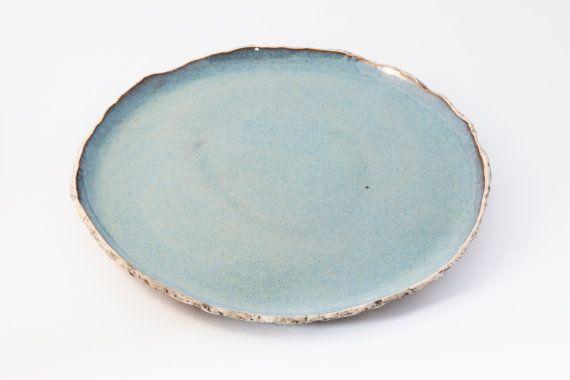 Blue Rustic Dinner Plate Handmade Organic Ceramic Plate Stoneware Plates Tableware Wedding Gift Pottery Dinnerware Rustic Plates Organic Ceramics Pottery Plates
