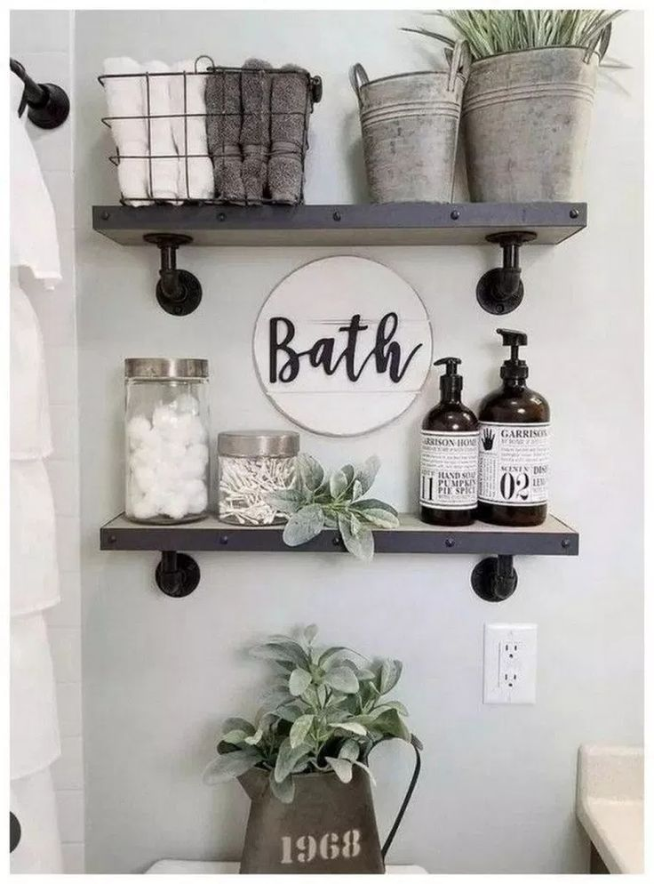 Photo of Beautiful Grey Whitewash Floating Wall Mounted Hanging Shelves Set of 2. Great for Bedroom, Living Room, Bathroom and Kitchen