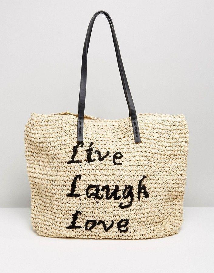 Vincent Prar Live Laugh Love Straw Beach Bag At Asos
