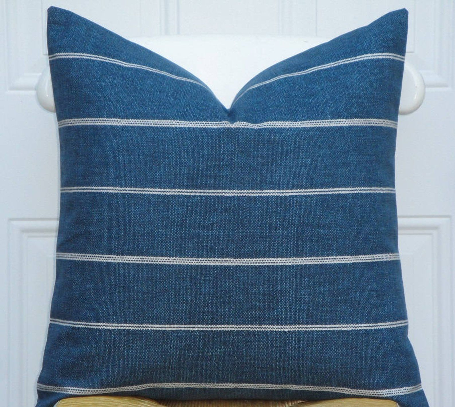 Astonishing Double Sided Decorative Pillow Cover Stripe In Blue Dailytribune Chair Design For Home Dailytribuneorg