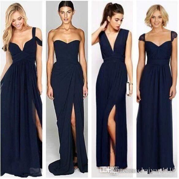 b58a402268c 2016 Long Dark Navy Blue Bridesmaid Dresses V Neck Chiffon Floor Length  Wedding Guest Wear Party Dress Plus Size Maid of Honor Gowns Long  Bridesmaids ...