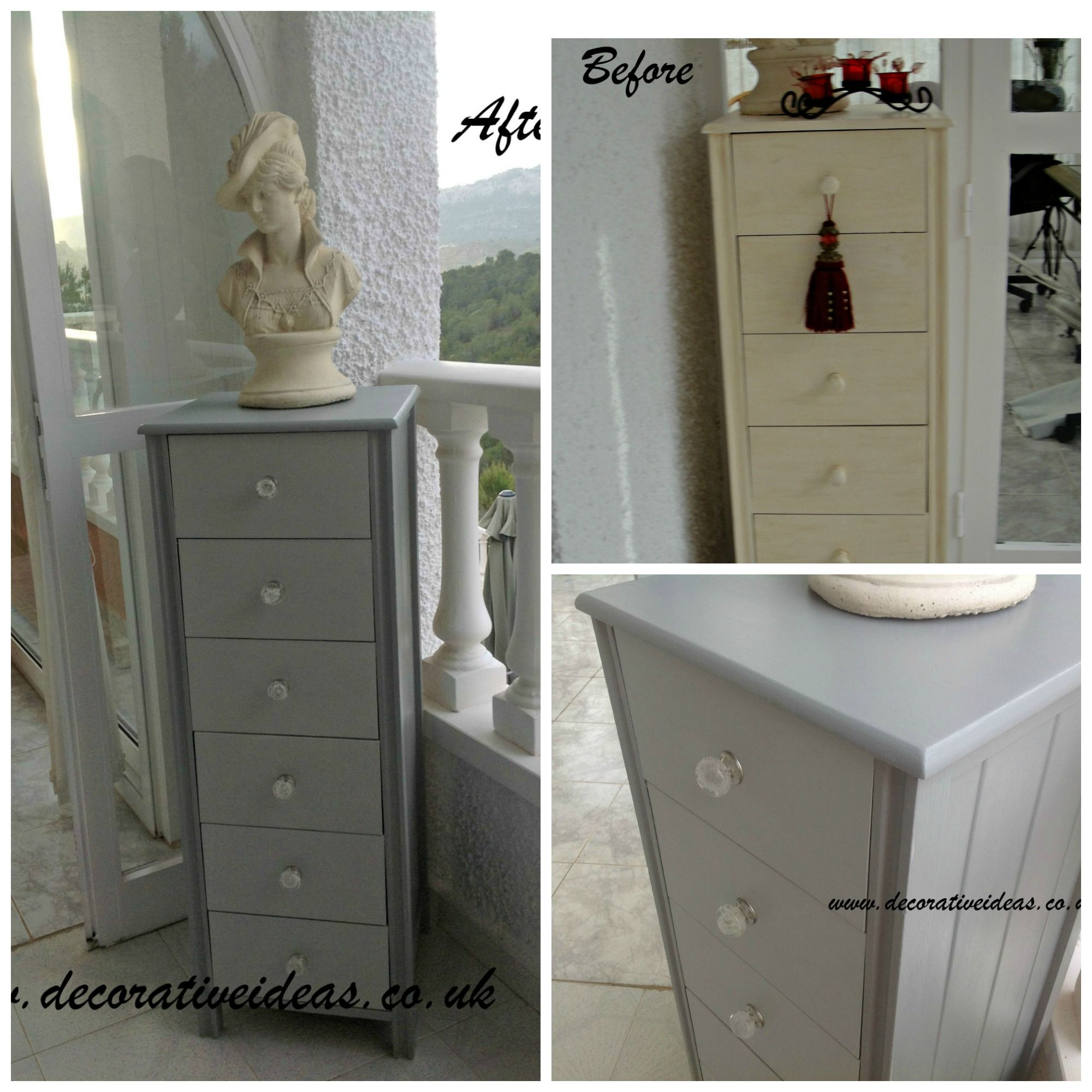 Tall Chest Of Drawers Painted In Annie Sloan S Paris Grey Bathroom Furniture Furniture Plastic Shower Curtain