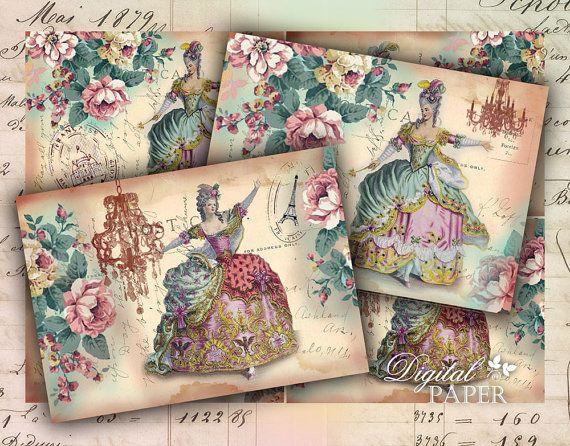 Victorian Post Cards  digital collage sheet  set by bydigitalpaper