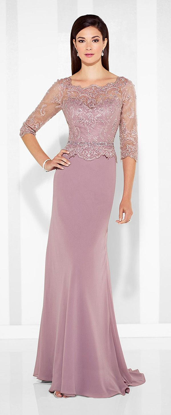 Charming Tulle & Chiffon Scoop Neckline Sheath Mother Of The Bride ...