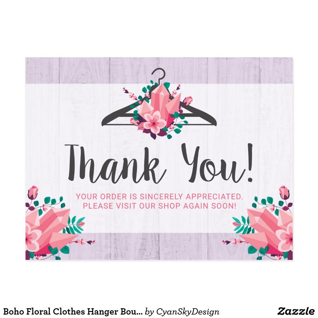 Boho Floral Clothes Hanger Boutique Thank You Postcard Zazzle