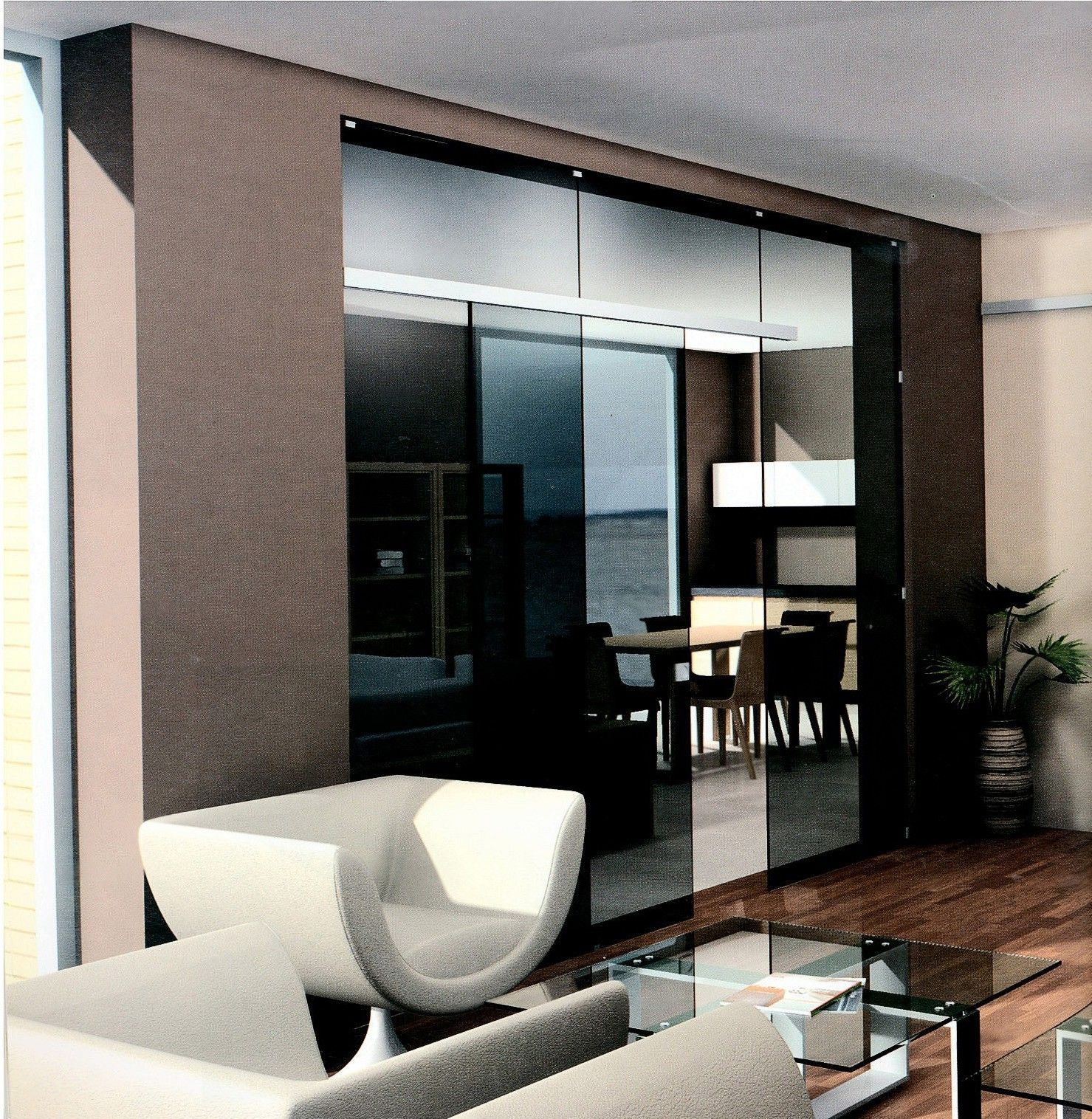 green tinted glass wall with frosted sliding door interior brown
