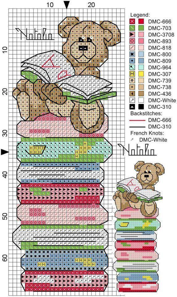 Bear on stack of books cross stitch bookmark