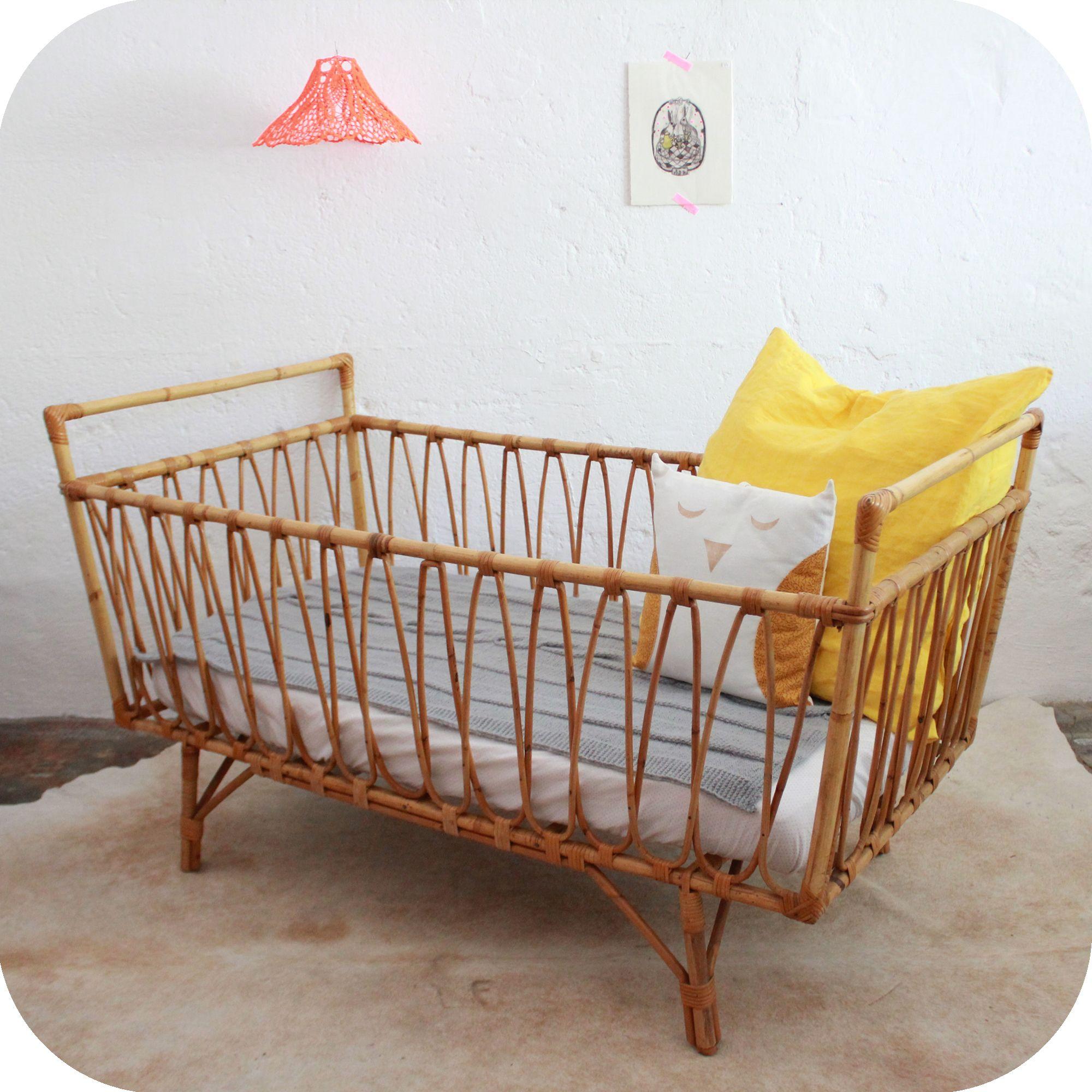 Vintage Rattan baby crib so cute! Things I Love