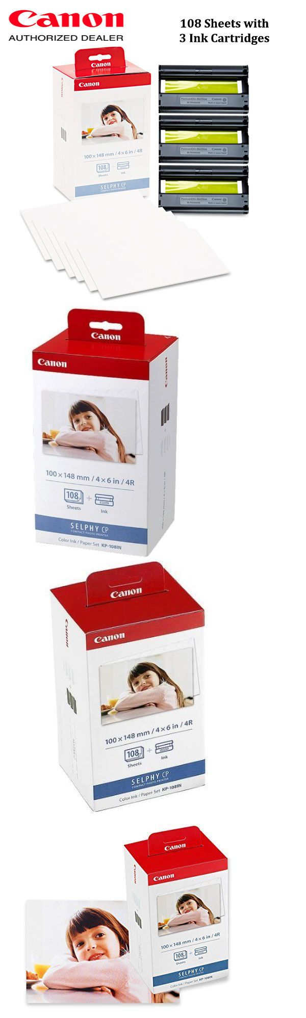 NEW Canon KP-108IN Color Ink and Paper Set 108 Sheets with 3 Ink Cassettes