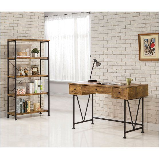 Coaster Furniture Antique Nutmeg Writing Desk With V Shaped Legs