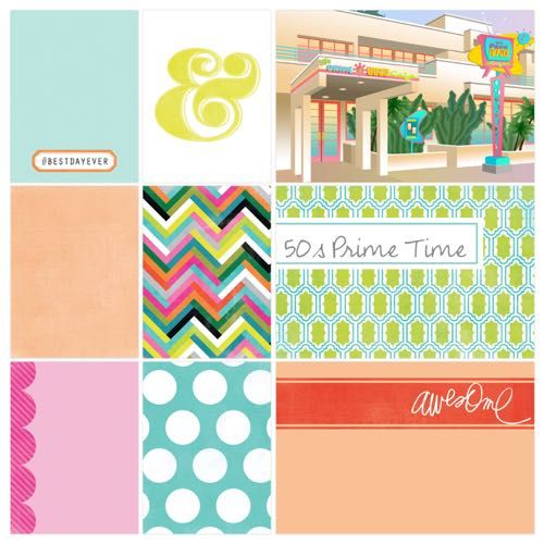 Official Disney and Project Life products for a 50s Prime Time scrapbook page layout idea to use in a photo book or album of Disney World vacation see more: http://capturingmagic.me/DisneyProjectLife