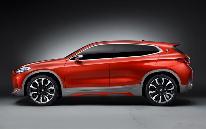 Lataa kuva BMW X2, 2017, Käsite, 4k, sivukuva, crossover, uusia autoja, punainen X2, Saksan autoja, BMW