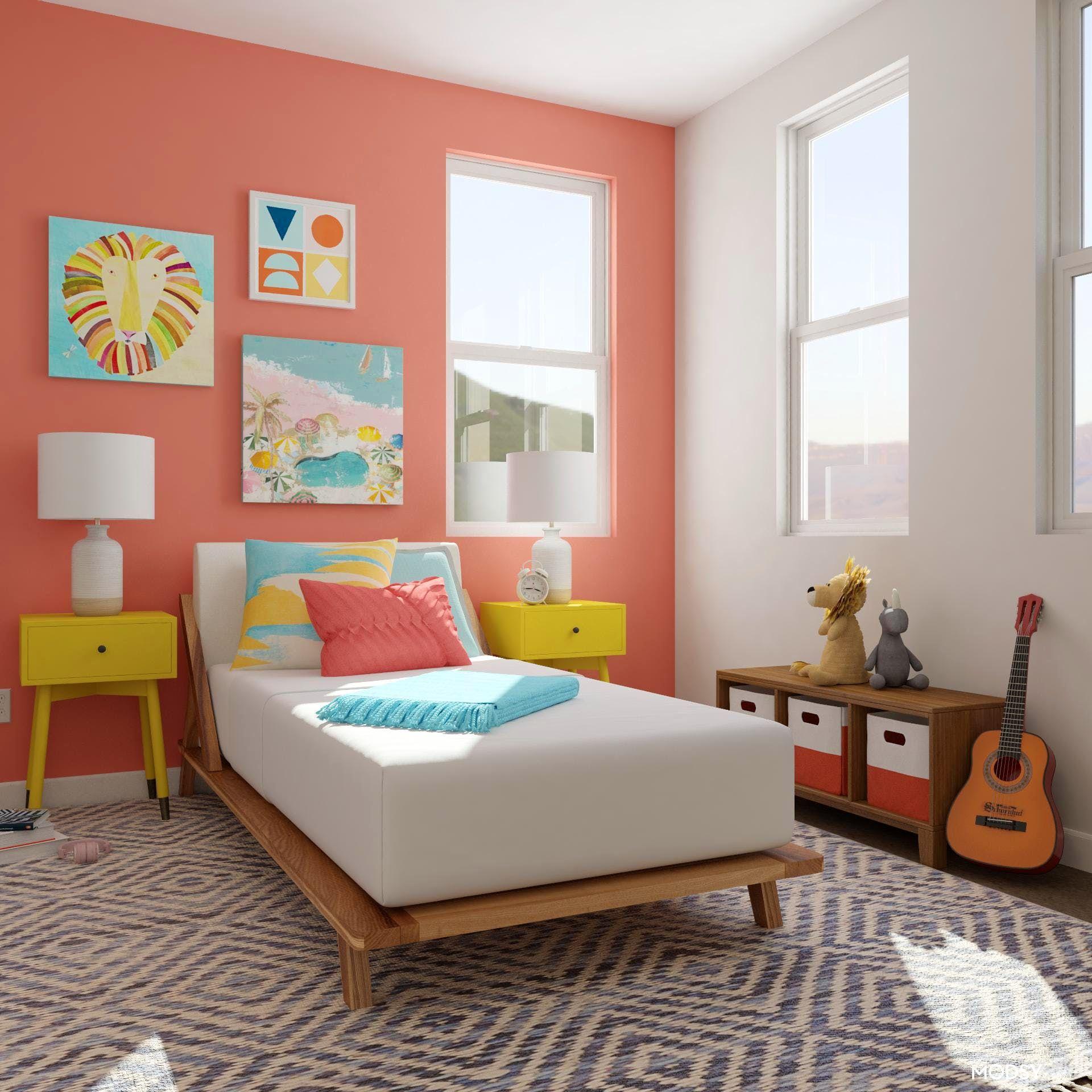 Kids' Bright Multicolor Coastal Bedroom: Pops of coral ... on Fun Living Room Ideas  id=49606