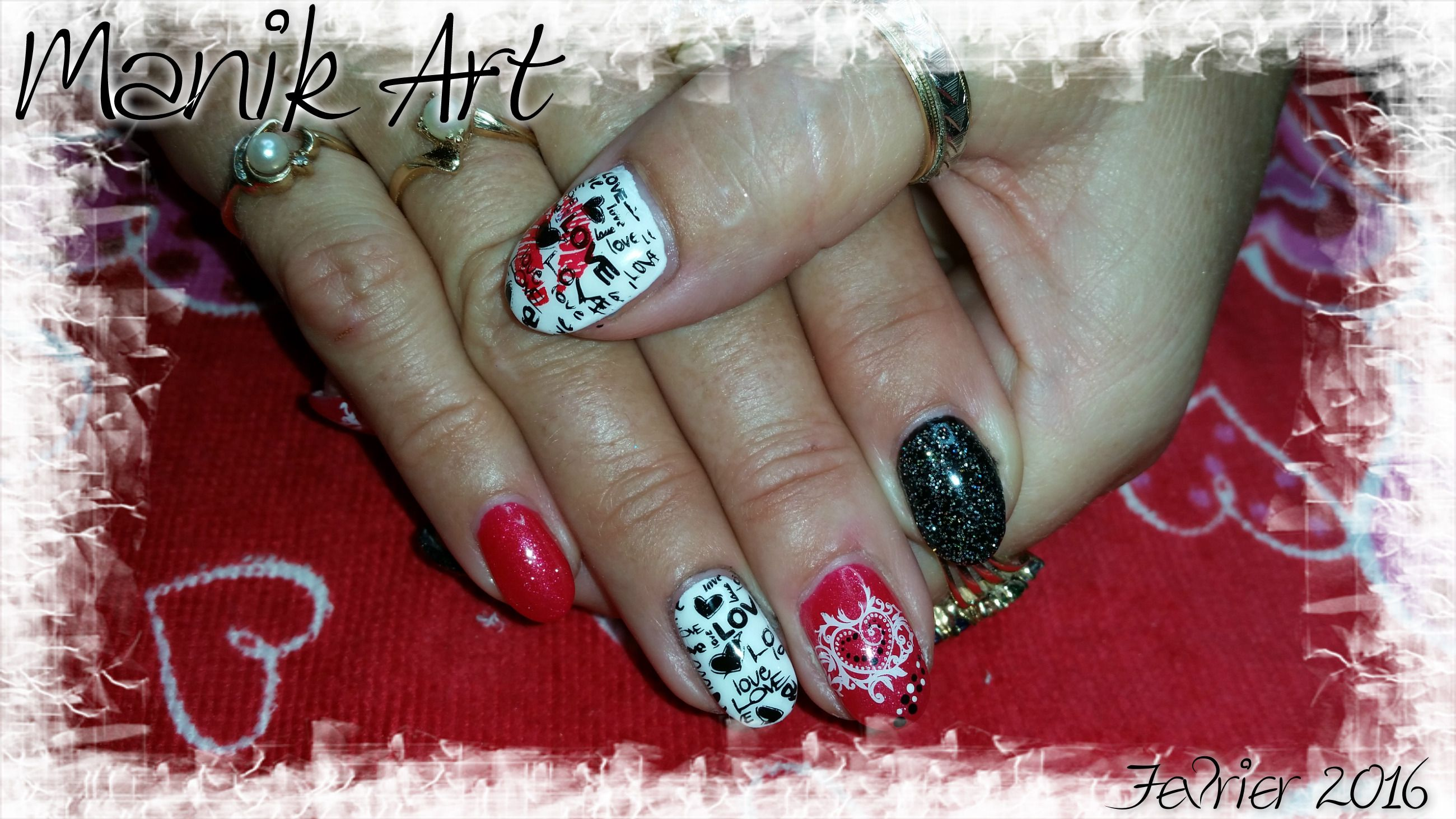 nail #nailart #design #kiss #valentinday #stvalentin #red #black ...