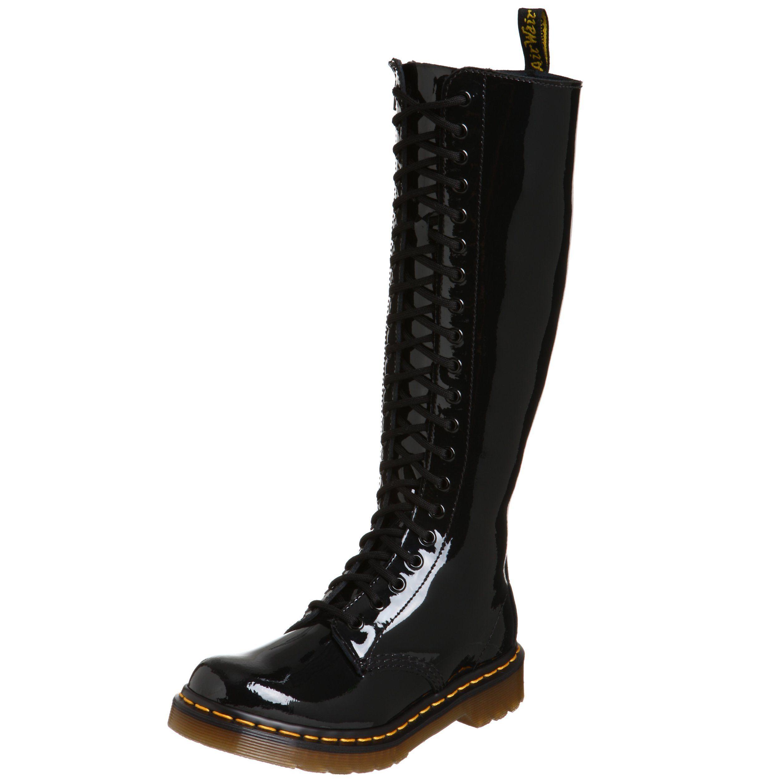 dr. martens 1b60, boots femme - noir (black patent lamper), 36 eu