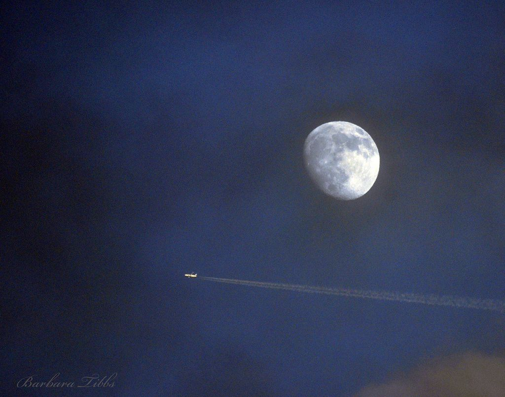 I snapped this image quickly at dusk when returning to the house from the barn after evening chores.  I'm not really happy with the grain, but I liked the way that even though the sun was down, it still lit up the moon and the jet darting by it.   Have a Great Day Everyone!