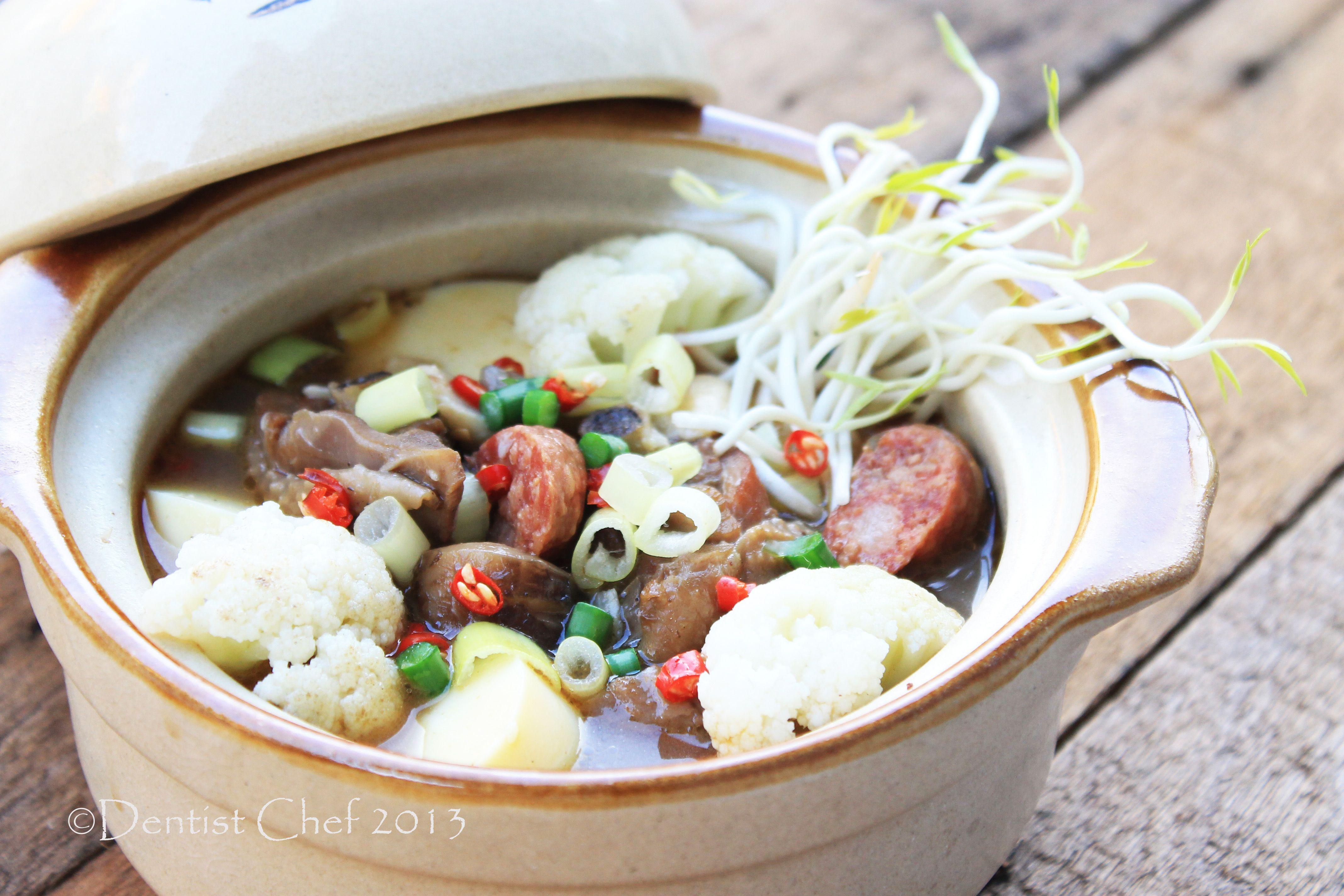 Claypot Of Chicken Tofu Sea Cucumber And Mushrooms Recipe Resep Jamur Resep Makanan Tahu